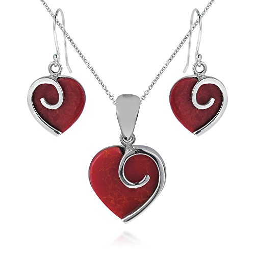 Silver Slide Jewelry Set (Heart in Love Reconstructed Red Coral .925 Sterling Silver Jewelry Set)