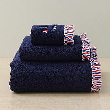 Znyo Juego de Toallas de baño Juego de 3 Toallas de baño Bordadas absorbentes Toallas de