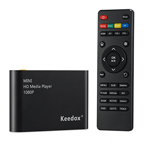 - Keedox Mini Multi Media Player Upscaling Full HD 1080P HDMI/AV Out SDHC MKV AVI RMVB RM for HDTV with Remote Control