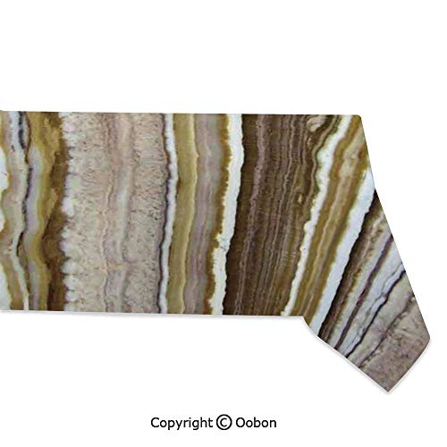 Space Decorations Tablecloth, Onyx Marble Rock Themed Vertical Lines and Blurry Stripes in Earth Color, Rectangular Table Cover for Dining Room Kitchen, W60xL104 inch