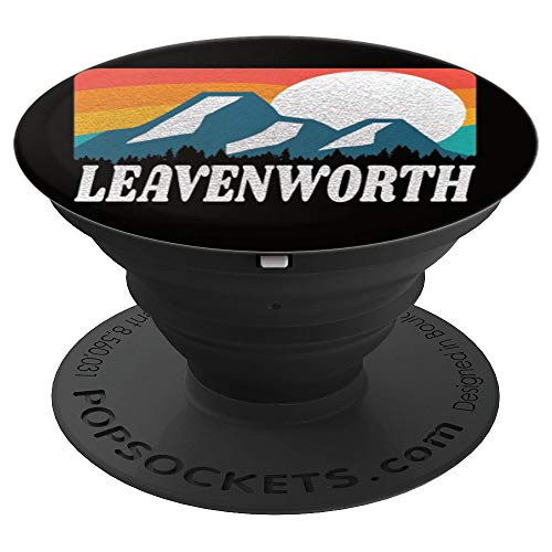 Leavenworth Washington Retro Rainbow Mountain PopSockets Grip and Stand for Phones and Tablets