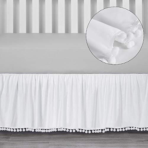 TILLYOU Ruffled Crib Skirt with Pompoms, Microfiber Nursery Crib Toddler Bedding Skirts for Baby Boys Girls, 14