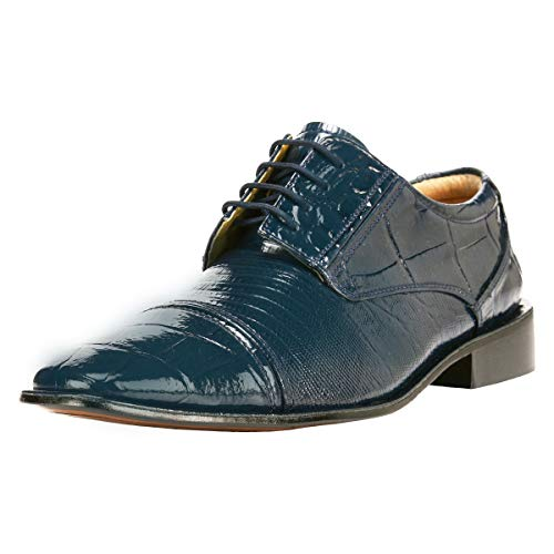 Liberty Exotic Men's Crocodile/Lizard Print Oxford Hand-Picked PU & Genuine Leather Stitched Lace up Dress Shoes Exclusive Collection Navy