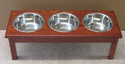 Classic Pet Beds 3-Bowl Traditional Style 2-Quart Ash Pet Diner, Medium, Cherry