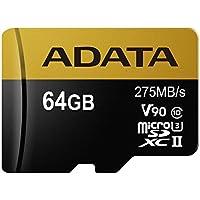 ADATA Premier ONE 64GB SDXC UHS-II U3 Class10 V90 3D NAND 4K 8K Ultra HD 275MB/s Micro SD Card (AUSDX64GUII3CL10-C)