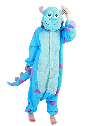 Monster Inc. Sulley Adult Onesie. Animal Pajama Costume for Teenagers, Women, Men (Large) Blue