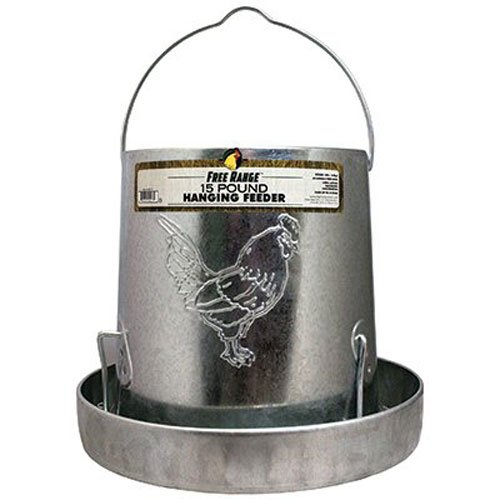 Harris Farms Galvanized Hanging Poultry Feeder, 15 Pounds