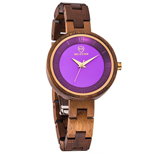 Women's Wooden Watches,BIOSTON Natural Handmade Vintage 34mm Small Convex Face Acacia Wood Watch