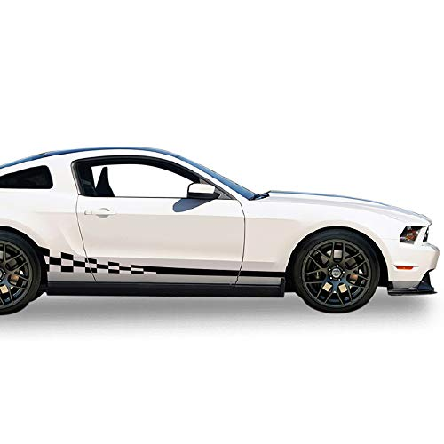 - Bubbles Designs Decal Sticker Vinyl Side Wavy Finishing Stripe Kit Compatible with Ford Mustang 2004-2014 (Black)
