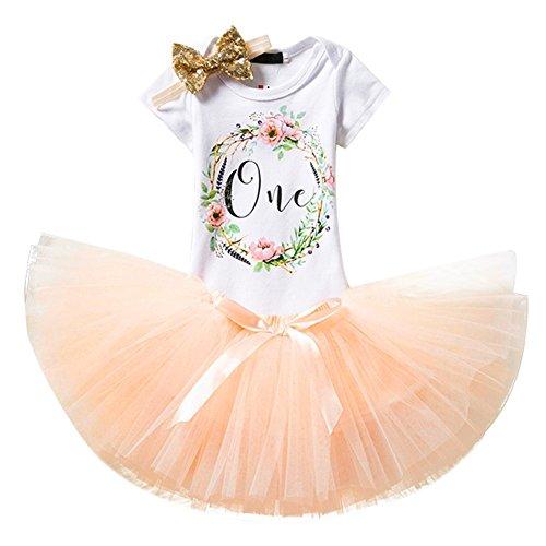 (IWEMEK Baby Girl Newborn 1st Birthday Cake Smash 3Pcs Outfits Shinny Sequin Bow Princess Romper+Tutu Skirt Dress+Headband)