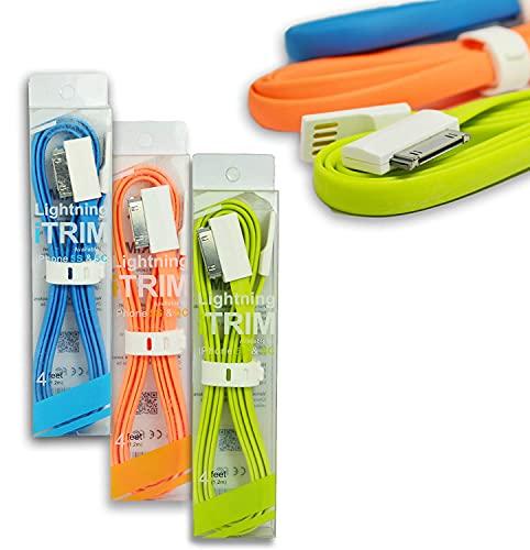 Dipozer iTrim USB 30 Pin Data Charging Cable for iPhone 4S 4 3GS iPod Nano iPad  Orange