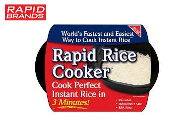 Rapid Rice Cooker | Microwave Rice Blends in Less Than 3 Minutes | Perfect for Dorm, Small Kitchen, or Office | Dishwasher-Safe, Microwaveable, BPA-Free (Black)