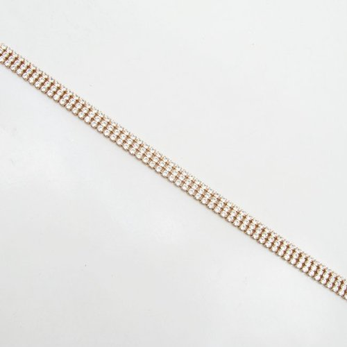 Pour femme-Argent 925/1000-Rose-bracelet 3 rangées de diamants mbmi56