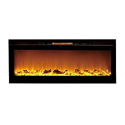 Mona Flame 50 Inch Cynergy Log Recessed Built-In Wall Mounted Electric Fireplace from Moda Flame