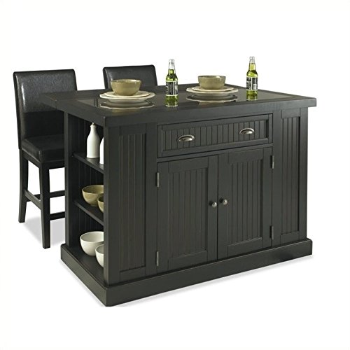 Cheap  Home Styles 5033-949 Nantucket Kitchen Island and Stools, Distressed Black Finish
