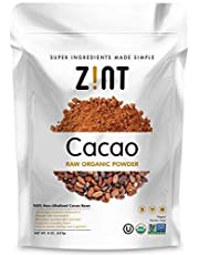 Zint Organic Cacao Powder: Paleo-Certified, Organic, Non GMO, Anti Aging Antioxidant Superfood, Gluten Free Cocoa Cacao Beans, Pure Delicious Chocolate Essence
