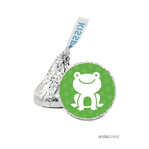 Andaz Press Chocolate Drop Labels Stickers, Birthday, Frog, 216-Pack, for Hershey's Kisses Party Favors, Gifts, Decorations