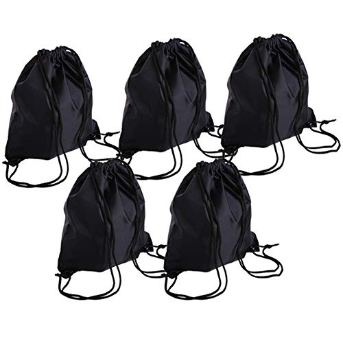 - Bonaweite Drawstring PE Bags Eco-friendly Nylon Sports Travel Home Use Sackpack Black 5 Set