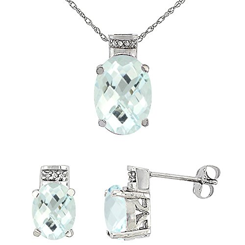 10K White Gold Diamond Natural Aquamarine Earring Necklace Set Oval 8x6mm & 14x10mm, 18 inch long