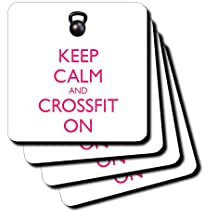3dRose cst_159567_3 Keep Calm and Cross Fit on Kettle Bell Workout-Ceramic Tile Coasters, Set of 4