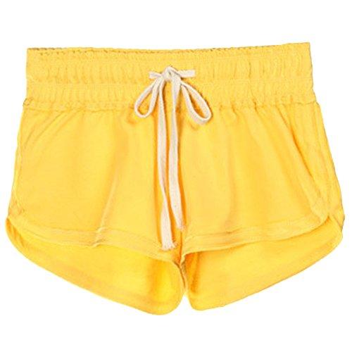 Sport Estivi Giallo Pants Fitness Casuale Coulisse Pantaloni Hot Vita Corti Donna Pantaloncini Elastica IYgx76