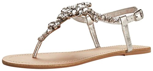 Jeweled T Strap Sandal Style Gemma  Silver Metallic  9