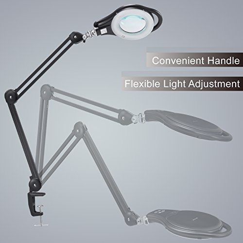 LED Magnifier Lamp, PHIVE Dimmable Magnifying Desk Lamp/Task Light with Clamp (3 Lighting Modes, 5 Diopter, 5'' Diameter Glass Lens, Dust Cover) Swing Arm Workbench, Drafting, Work Light by PHIVE (Image #2)