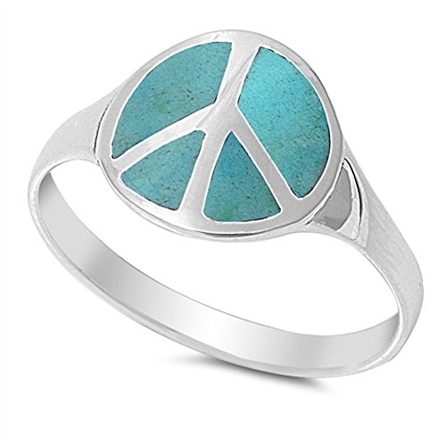 Simulated Turquoise Peace Sign Polished Cute Ring New .925 Sterling Silver Band Size 9