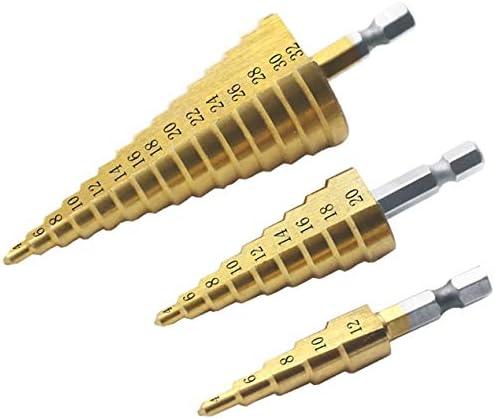 HSSチタンコーティングステップドリルビットセットメタルウッドドリル穴切削工具用六角シャンクステップコーンドリルビット-ゴールド