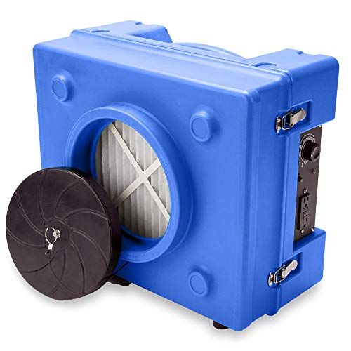 B-Air RA-650 HEPA Air Scrubber Commercial Industrial Grade Air Purifier Negative Air Machine for Water Damage Restoration, Blue