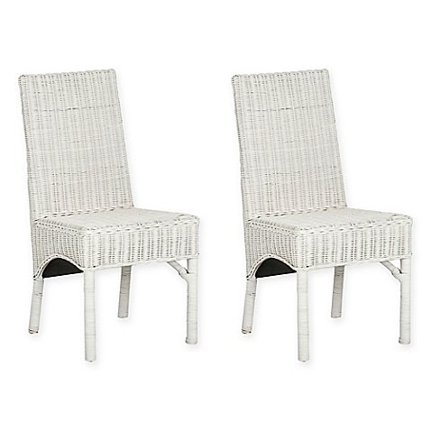 Safavieh Sommerset Side Chair in White (Set of 2) l Parsons-Style Simple, Elegant Lines and Relaxed White Rattan Charm