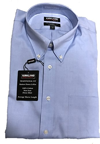 Permanent Arms (Kirkland Signature Men's Long Sleeve Non-iron Button Down Dress Shirt (Neck: 16.5