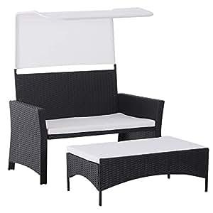 Amazon.com: Outsunny - 2 sillas de mimbre para exteriores ...