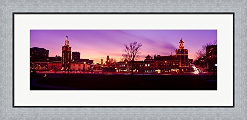 Buildings in a city, Country Club Plaza, Kansas City, Jackson County, Missouri, USA by Panoramic Images Framed Art Print Wall Picture, Flat Silver Frame, 35 x 17 - Plaza County Club