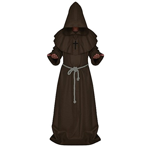 Priest Or Monk Wig (Riveroy Men's Medieval Monk Robe Pastor Halloween Hooded Cape Costume Cloak M Chocolate)