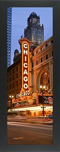 Easy Art Prints Panoramic Images's 'Neon sign a stage theater lit up at night, Chicago, Illinois, USA' Premium Framed Canvas Art - 30