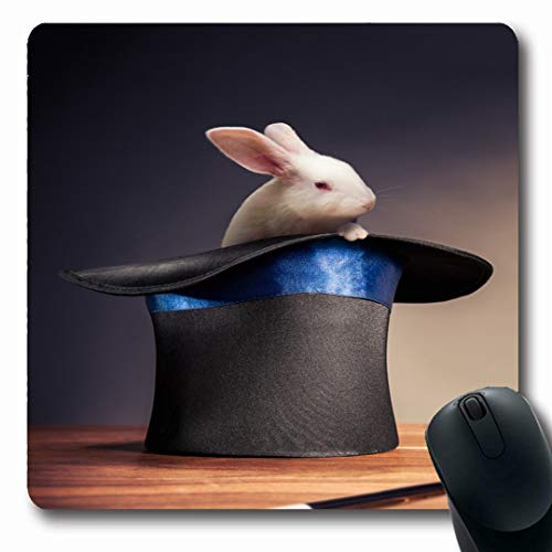 Ahawoso Mousepads Mystery Magic Composite Rabbit Magician Hat Top Trick Pet Bunny Show Design Sorcery Oblong Shape 7.9 x 9.5 Inches Non-Slip Gaming Mouse Pad Rubber Oblong Mat