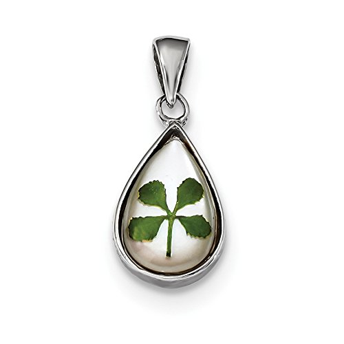 925 Sterling Silver Plat. Plated Leaf Clover Epoxy Sea Shell Mermaid Nautical Jewelry Tear Drop Pendant Charm Necklace Good Luck Italian Horn Fine Jewelry Gifts For Women For Her