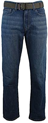 Calvin Klein Men's Relaxed Straight Leg Belted Jeans