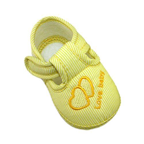 Xiangze Bebé zapatos cuna suave zapatos Amarillo