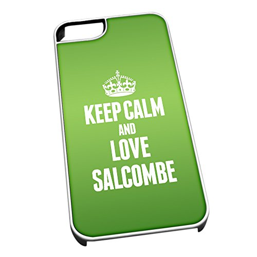 Bianco cover per iPhone 5/5S 0545 verde Keep Calm and Love Salcombe