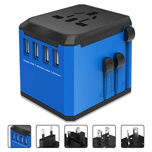 Universal Travel Power Adapter All-in-one International Power Adapter with 4 Port USB Total 8A 2000W Fast Power Charger…