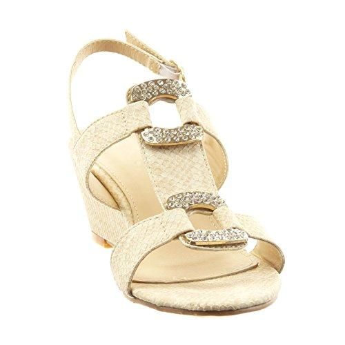 Sopily - Scarpe da Moda sandali aperto alla caviglia donna pelle di serpente gioielli strass Tacco zeppa 6 CM - soletta sintetico - Cammello
