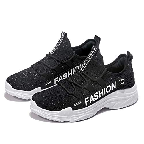 Men's Breathable Knit Sneakers - Stylish Athletic-Inspired Walking Shoes Outdoors Summer Running Trainning Tennis Shoe (Black, US:5.5) by Cealu (Image #5)