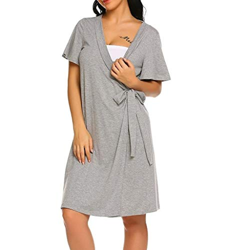 Forthery Women's Summer Casual Solid V Neck Pregnanty Maternity Dress Back Button Down Midi Dress(Gray,L=US 8) -