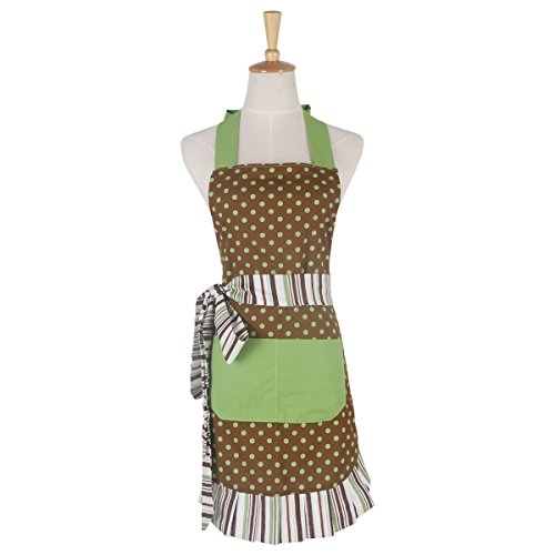 Monkeysell Aprons Women's Original Strap type Cotton printing Anti-fouling and oil Apron (Green dot (Elf Holiday Apron And Hat Adult)
