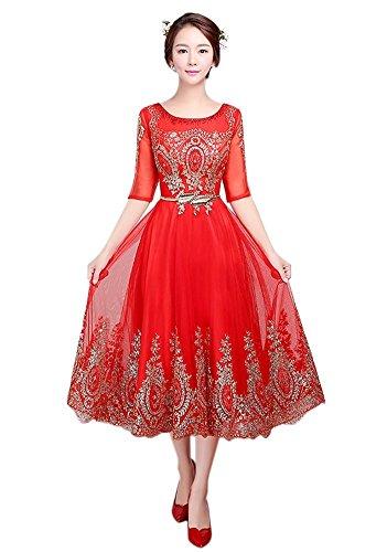 Drasawee Kleid Damen Rot A Linie 0Raxz0q
