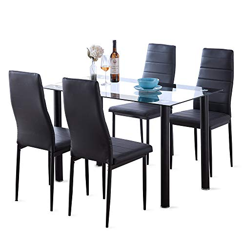 Dining Room Table Set 5 Piece Modern Tempered Black Glass Table with 4 High Back Faux Leather Dinning Chairs Set for 4 (Dinning Set Black)