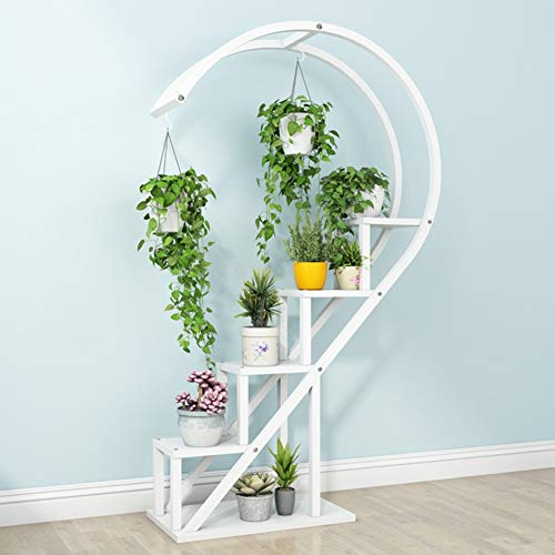 YYFANG Plant Flower Stand Floor-Standing Indoor Multi-Layer Balcony Heart Shape Hangable Green Plant Iron Art Flower Pot, 9 Colors (Color : White, Size : 55X30X146cm)