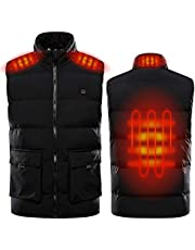 Sidiou Group Adjustable USB Electric Heated Vest Temperature Heating Clothing Down Jacket Hoodie Winter Heating Waistcoat Gilet Vest For Men And Women(Not Include Mobile Power)